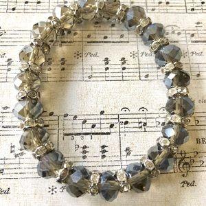 Dark Smoke Grey Crystal Bead Bracelet